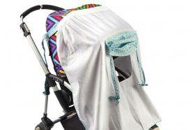 Накидка от солнца на коляску Mammie — белая с голубым